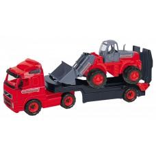 """""""Volvo"""", автомобиль-трейлер + трактор-погрузчик (в сеточке)"""
