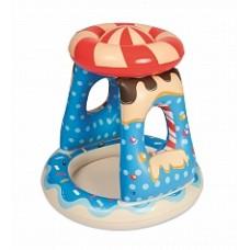 BW Детский надувной бассейн с навесом Конфетка 91х91х89см, 26 л, от 2 лет