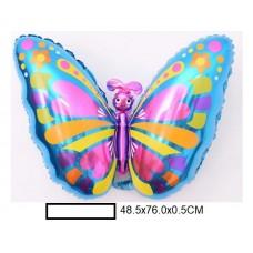 Воздушный шар фольг. Бабочка, в ассорт., пакет 50шт